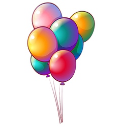 Seven rainbow-colored balloons vector