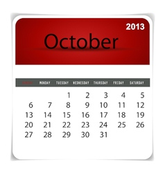 2013 calendar october vector