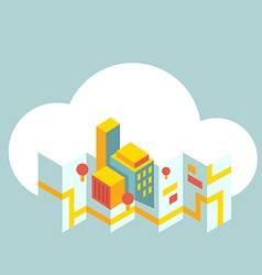 Modern city map in the cloud vector