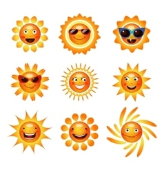 Sun smile smiley icons collection vector