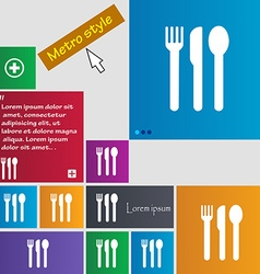 Fork knife spoon icon sign buttons modern vector