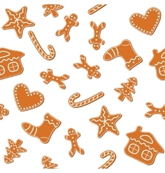 Christmas gingerbread cookies seamless vector