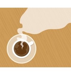 Cup of fresh espresso on table view from above vector