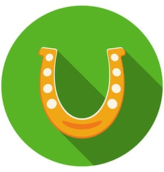 Flat design horseshoe icon with long shadow vector
