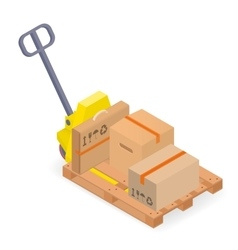 A pallet truck with pallet and cardboard boxes vector