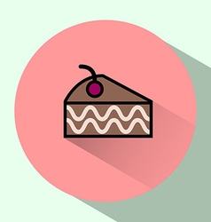 Cake slice with cherry on top colorful icon vector