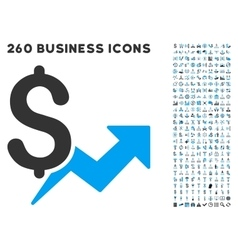 Price growth icon with flat set vector