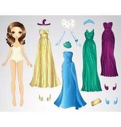 Retro evening paper doll vector