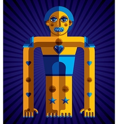 Bizarre creature cubism graphic modern pict vector image