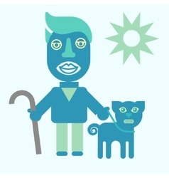 Man and dog flat icon vector