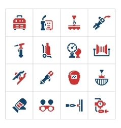 Set color icons of welding vector
