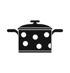 Saucepan with white dots icon simple style vector