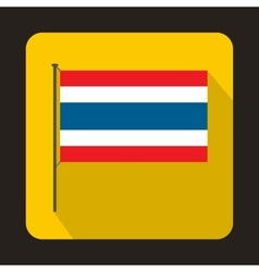 Flag of thailand with flag pole icon flat style vector