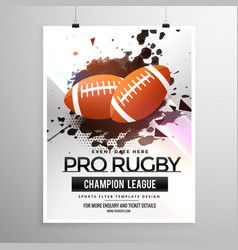 Abstract rugby sports flyer design with grunge vector