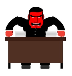 Angry boss chief red with anger at table head of vector