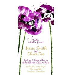 Background with purple watercolor poppies vector