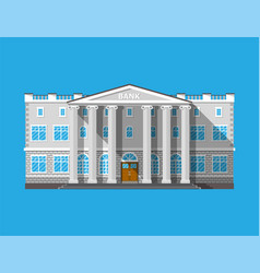 Bank building financial house isolated on blue vector