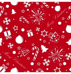 Christmas seamless background red vector image vector image