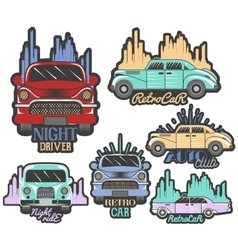 Colorful set of retro car club logos vector