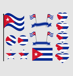 Cuba flag set collection of symbols flag vector