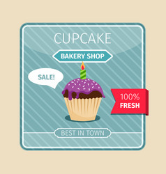 cute card purple cupcake with candle vector image vector image