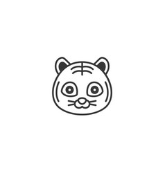 Cute cartoon face of tiger outline icon vector