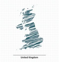 Doodle sketch of united kingdom map vector