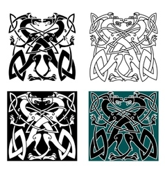 Dragons celtic knot vintage pattern vector image