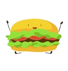 Funny fast food hamburger icon vector