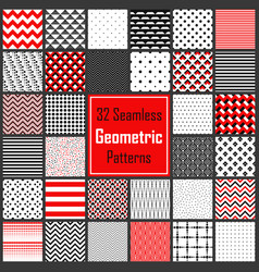 geometric black white red patterns set vector image
