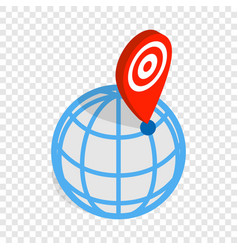 Globe and map pointer isometric icon vector
