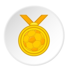 Gold medal with a ball icon cartoon style vector