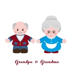 Grandmother and grandfather cartoon style vector image
