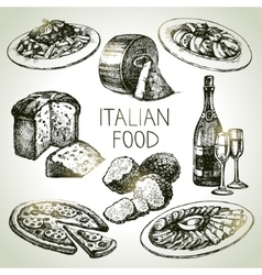 Hand drawn sketch italian food set vector
