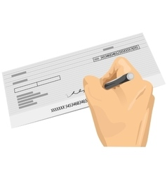hand holding a pen signing a blank check vector image