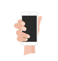 hand holding white phone on vector image
