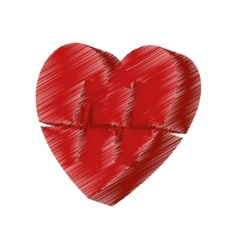 Heart with cardiology icon vector