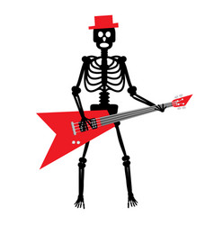 human skeleton with guitar crazy punk rock vector image vector image