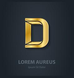 Letter D elegant gold font Template for company vector image