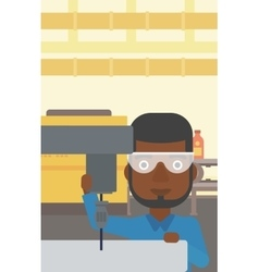 Man working on milling machine vector