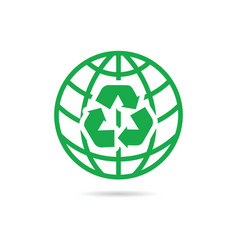 Recycling symbol with planet vector