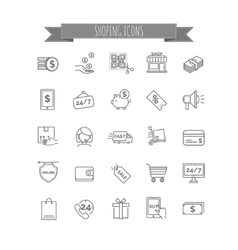 Shopping icons e-commerce vector