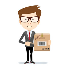 Smiling modern business man pointing to a large vector