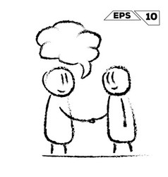 Stick figure handshake 2 man with speak bubble vector