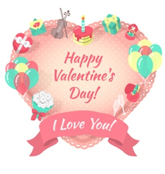 Valentines Day Card with Love Symbols vector image vector image