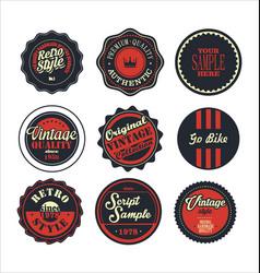 Vintage labels blue and red set 2 vector