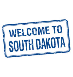 Welcome to south dakota blue grunge square stamp vector