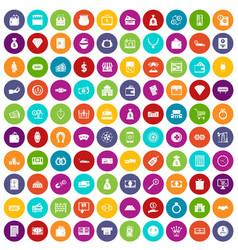 100 money icons set color vector