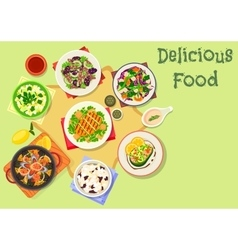 Popular salad icon with seafood meat vegetable vector