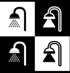 Shower sign  black and white icons and vector